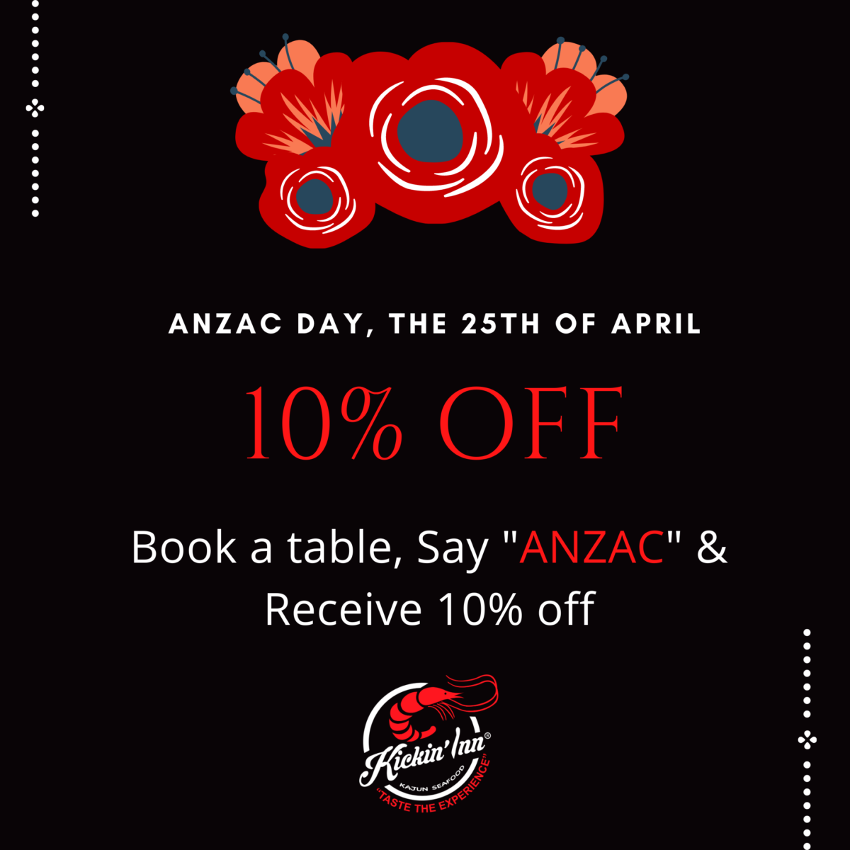 Receive 10% off on Anzac Day
